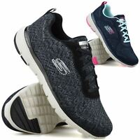 Womens Skechers Memory Foam Walking Running Lace Up Sports Trainers Shoes Size
