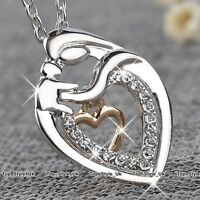 Xmas Gifts for Her Mother and Daughter Rose Gold & Silver Heart Necklace Mum 12T