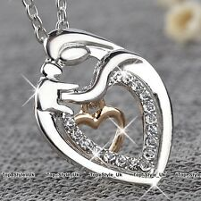 Rose Gold & Silver Heart Necklace Mother Daughter Presents Xmas Gifts for Her E5