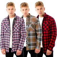 New Mens Padded Quilted Fleece Lined Shirt Lumberjack Jacket Flannel Warm Work