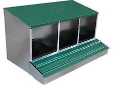 PONEDERO de metal galvanizado para aves, 3 departamentos