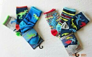 BOYS 3 PAIR PACK MIX CHILDREN ANKLE DINOSAUR SOCKS UK Size 6-8.5, 9-12, 12-3.5