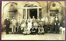 REAL PHOTO POSTCARD - WOUNDED SOLDIERS, NURSE OUTSIDE HOSPITAL