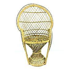 "Mini Light Rattan Wicker Peacock Fan Back Chair 16"" Plant Stand Jungalow Boho"