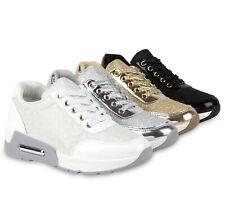 Damen Glitzer Sportschuhe Metallic Laufschuhe Bequeme Schnürer 811208 Schuhe