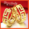 24K YELLOW GOLD GF MEN WOMEN PATTERN FILIGREE HOOP HUGGIES SLEEPER SOLID EARRING