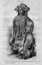 Stampa antica INDIANO d' AMERICA PELLEROSSA Lipan APACHE 1870 Old antique Print