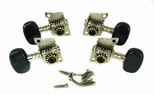 4pc. Black-Button Open Gear Ukulele/Cigar Box Guitar Tuners 2L/2R