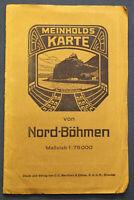 """Original Karte von Meinhold """"Nord-Böhmen"""" um 1910 Geografie Landeskunde sf"""
