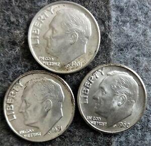 3 US Mint Silver Roosevelt Dimes - 1960-D 1961-D 1961 - Uncirculated/AU
