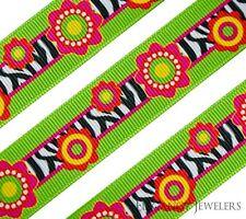 """High Quality 7/8"""" Flower & Zebra Design Spring Summer Printed Grosgrain Ribbon"""