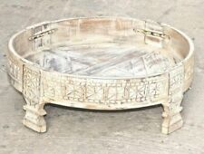 INDIAN HANDMADE ANTIQUE GRINDER TABLE STAND WOODEN CARWED CHAKKI