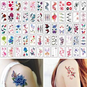 Temporary Tattoo for Women Body Art Tattoo Sticker 3d Butterfly Flower Tatoo 60x