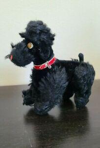 Vintage 50s Steiff Mohair Black Snobby Poodle Dog Germany Retired