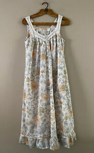 La Cera 100% Cotton Woven Flounce Nightgown Sleeveless Lace Trim Floral SMALL