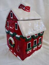 Holiday Time Red Barn W/snow Ceramic Hand Painted Christmas Cookie Jar Canister