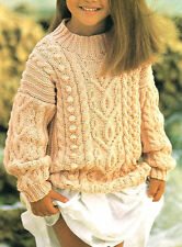 "Aran Bobble Cable Children Tunic/Sweater 22 - 30"" ~2-11 years ~ Knitting Pattern"
