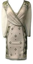 Karen Millen Luxe Metallic Dress Embroidered Gold Cream Beige UK Size 14 42 12