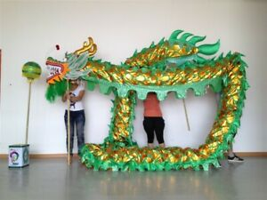 7M 6 student CHINESE DRAGON DANCE Green Gold Festival Folk Costume stage prop