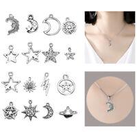 23 Pcs Mix Charms Star Moon Sun Planet Charm Tibet Silver Pendant Bracelet Beads