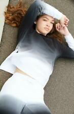 Lemonade/Scram jill black to white dip dye girls active sweat top