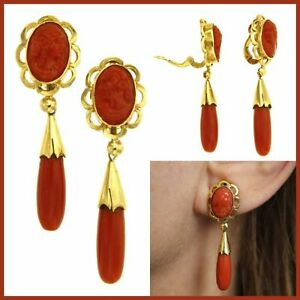 750 18k 18ct Real Yellow GOLD and Natural CORAL Cameo Drop Vintage Clip Earrings