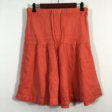 Anthropologie Elevenses Skirt Women Size Small Pink 100% Linen Drawstring A Line