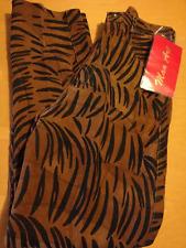 Vintage Donna Lepure MAN ART Designs Suede Leather Tiger Stripe Pants 8 NWT C017