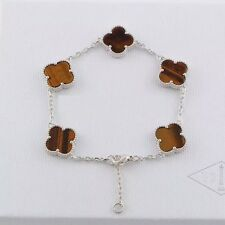 Bracelet Five Lucky Clover Silver Stainless Steel Eyes of Tiger Brown 13mm TRB1