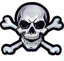 XL SKULL & CROSSBONES Large Embroidered PATCH Iron On Motorcycle 10.5""