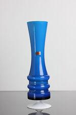 Glasvase Mundgeblasen Friedrich Blau Retro Vase Kristall