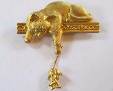 JJ signed brooch CAT & MOUSE gold tone DANGLE TREMBLER pin EUC