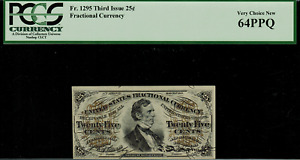 Fr-1295 $0.25 Third Issue Fractional Currency - 25 Cent - PCGS 64PPQ