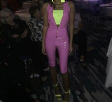 Women Patent Leather Shorts  Catsuit Clubwear Bodysuit Pink Small Jumpsuit