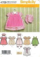 Simplicity # 4709 Sewing Pattern: Babies Dress Pinafore Pantaloons Panties Uncut