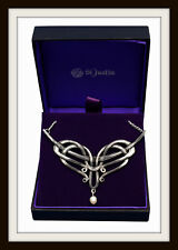 PEWTER  ~ ART NOUVEAU PEARL DROP NECKLACE ~ CELTIC STYLE ~ FROM ST. JUSTIN