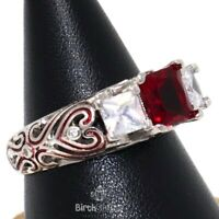 Gorgeous 2CT Red Ruby Ring Women Anniversary Nickel Free Jewelry 14K White Gold