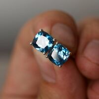 London Blue Topaz Cushion Cut 1.50 Cts Solitaire Stud Earrings 14k White Gold Fn