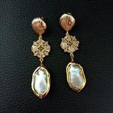 White Biwa Pearl 24K Gold Plated Cz Pave Stud Earrings