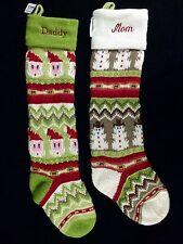 2 POTTERY BARN KIDS FAIR ISLE CHRISTMAS STOCKINGS DADDY MOM SANTA SNOWMAN NEW