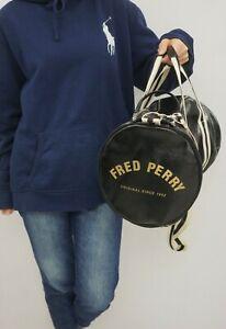 Unisex Fred Perry Bag Black Nylon Medium Size VAZ684