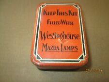 VINTAGE WESTINGHOUSE MAZDA LAMPS SPARE BULBS METAL TIN STORAGE BOX CONTAINER