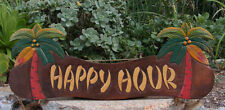 Happy Hour Tiki Bar Wood Sign Nautical Tropical Palm Tree Man Cave 22""