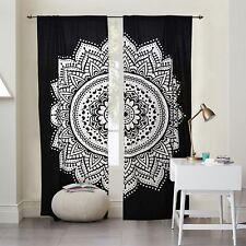 Black Curtains Mandala Indian Floral Window Drapes 2 Panel Set 82 x 54 Inches