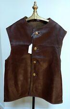 Vtg (Like 40S Ww2) 1951 Horsehide Leather Belgian Army Jerkin Waistcoat Vest 46T