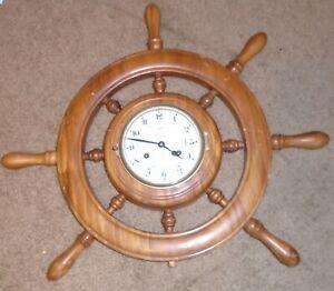 SCHATZ Brass Ship's Bell Clock with Key
