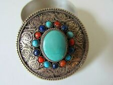 ANTIQUE ARABIC TURQUOISE CORAL LAPIS STONES LID METAL BODY PILL JEWELRY BOX