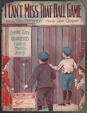 I Can't Miss That Ball Game 1910 Large Format Sheet Music
