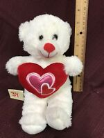 White Hug & Luv Soft Plush Teddy Bear with Red Heart Valentine's Day 12""