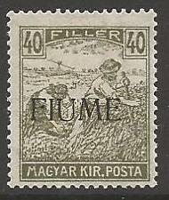 FIUME SG12 1918 40f OLIVE-GREEN MTD MINT